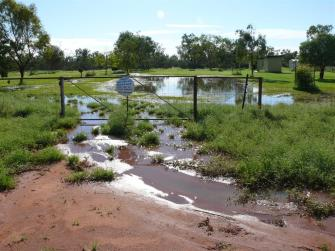 The flooded campground at Kilcowera Station.