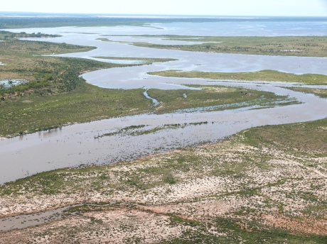 Benanga Creek flowing into Lake Wyara , March 2012 at Kilcowera Station.